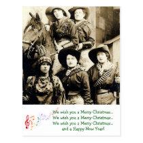 Western Women Christmas Greetings Postcard