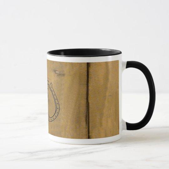 Western Wood Grain Design Double Horseshoes ~ Mug