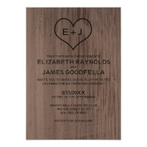 Western Wood Grain Wedding Invitations Cards