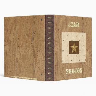 Western Wood/Leather/Star Print Avery Binder