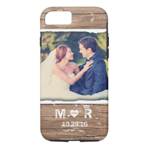 Western Wood Rustic Country Wedding Photo Monogram Phone Case