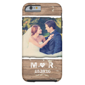 Western Wood Rustic Country Wedding Photo Monogram Tough iPhone 6 Case