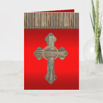 Western Wooden Cross Rope Barnwood Conchos Holiday Card