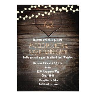 "Western Wooden Heart Rustic Wedding Invitation 5"" X 7"" Invitation Card"