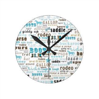 Western Word Art Teal Brown Wall Clock