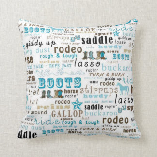 Western Word Art Turquoise MoJo Throw Pillow