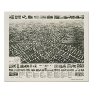 Westfield, mapa panorámico de NJ - 1929 Posters