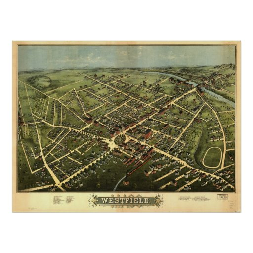 Westfield Mass. 1875 Antique Panoramic Map Posters