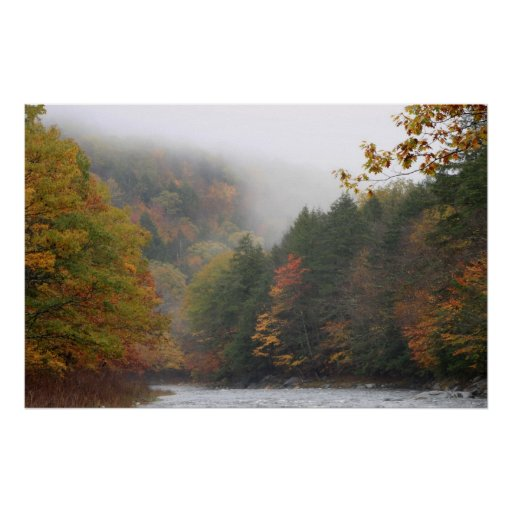Westfield River Foggy Autumn Poster