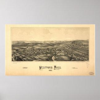 Westford Massachusetts 1886 Antique Panoramic Map Poster