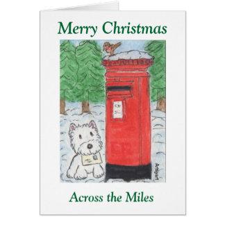 Westie a través de la tarjeta de Navidad de las mi