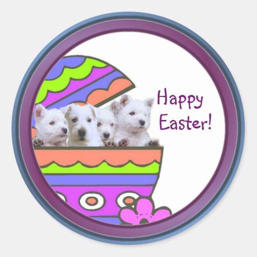 Westie adorable Pascua feliz desea a los pegatinas Pegatina Redonda