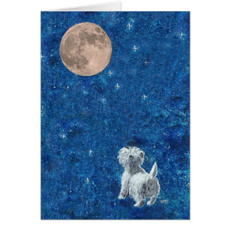 Westie and Full Moon Greeting Card