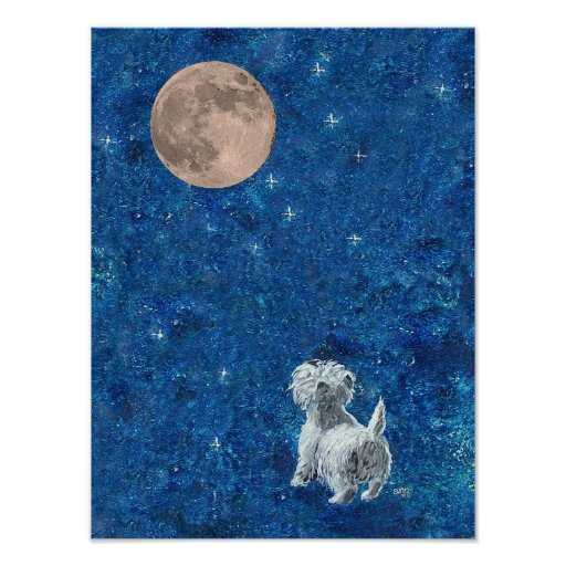 Westie and Full Moon Print