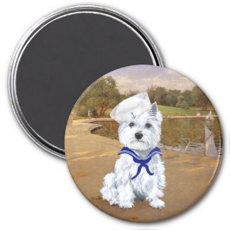 Westie and Sailboats Fridge Magnet