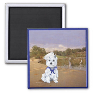 Westie and Sailboats Magnet