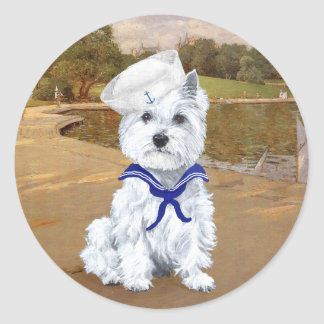 Westie and Sailboats Sticker