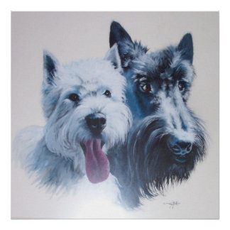 Westie and Scottie Dogs Canvas Print
