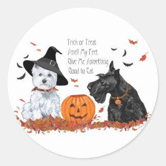 Westie and Scottie Halloween Classic Round Sticker