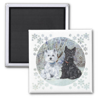 Westie and Scottie in Snowy Landscape 2 Inch Square Magnet
