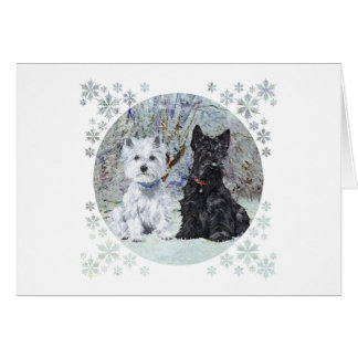 Westie and Scottie in Snowy Landscape Card