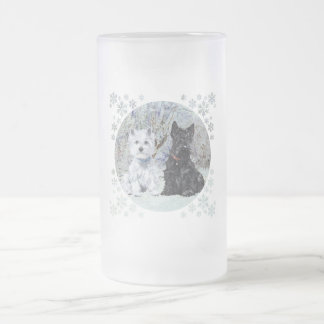 Westie and Scottie in Snowy Landscape Frosted Glass Beer Mug