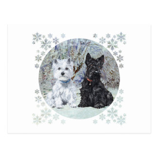 Westie and Scottie in Snowy Landscape Postcard