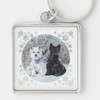 Westie and Scottie in Snowy Landscape Silver-Colored Square Keychain
