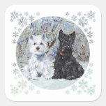 Westie and Scottie in Snowy Landscape Square Sticker