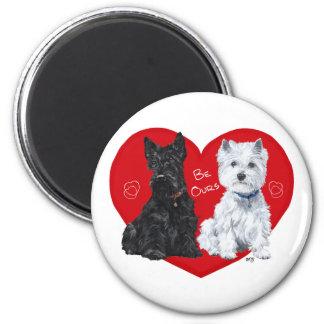 Westie and Scottie Valentine 2 Inch Round Magnet
