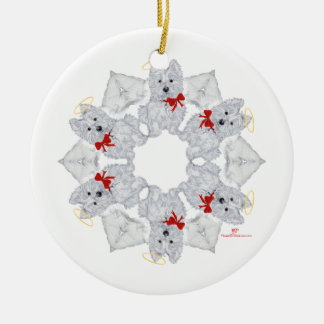 Westie Angel Snowflake Ceramic Ornament