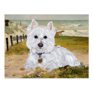 Westie at the Beach Postcard
