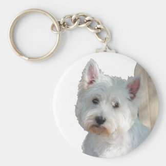 WESTIE AT THE GATE KEYCHAIN