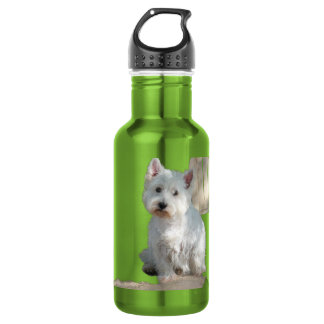 WESTIE AT THE GATE WATER BOTTLE