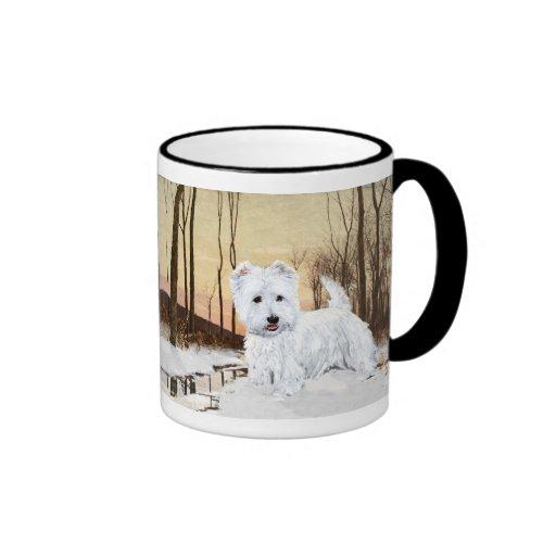 Westie at Twilight Ringer Coffee Mug