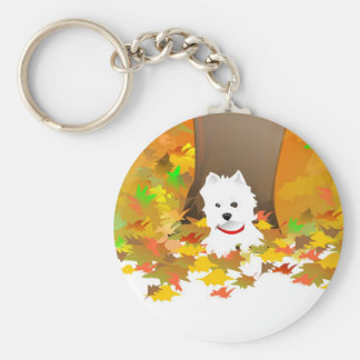 Westie - Autumn Leaves - Key chain