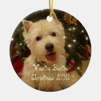 Westie Bestie Christmas by Rwatkins Ceramic Ornament