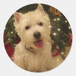 Westie Bestie Christmas Mug Classic Round Sticker