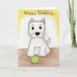 "Westie Birthday art card friend husband wife etc<br><div class=""desc"">I have created this lovely westie card using my art image. You can change the text on the front and inside to add your personalised touch. Please take a look at my other matching items and westie cards,  mugs etc.</div>"