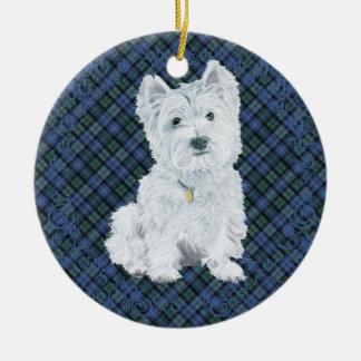 Westie Black Watch Tartan Ceramic Ornament