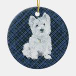 Westie Black Watch Tartan Double-Sided Ceramic Round Christmas Ornament