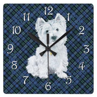 Westie Black Watch Tartan Square Wall Clock