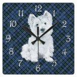 Westie Black Watch Tartan Square Wall Clocks