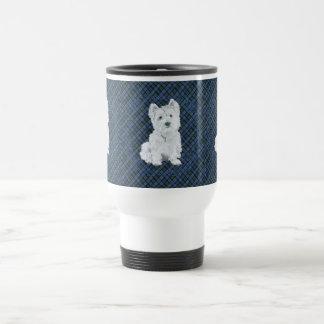 Westie Black Watch Tartan Travel Mug