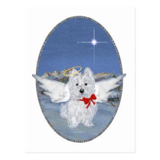 Westie Christmas Angel Postcard