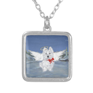 Westie Christmas Angel Silver Plated Necklace
