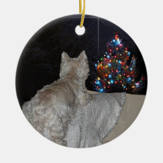 WESTIE CHRISTMAS AWE Double-Sided CERAMIC ROUND CHRISTMAS ORNAMENT