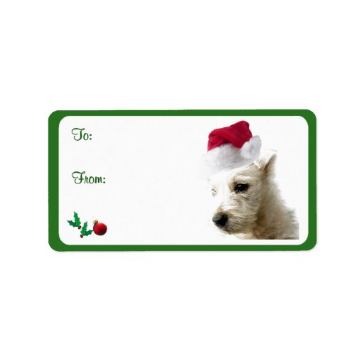 Westie Christmas Gift Tag Stickers Custom Address Labels