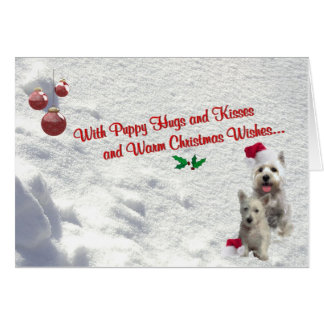 Westie Christmas Hugs and Kisses Greeting Card #2