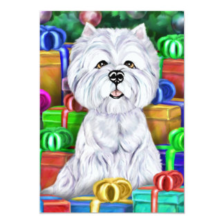 Westie Christmas Open Gifts 5x7 Paper Invitation Card
